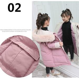 Image 4 - 子供の冬ダウン綿のジャケット 2020 新ファッション女の子の服子供服厚いパーカファーフード付き防寒アウターコート