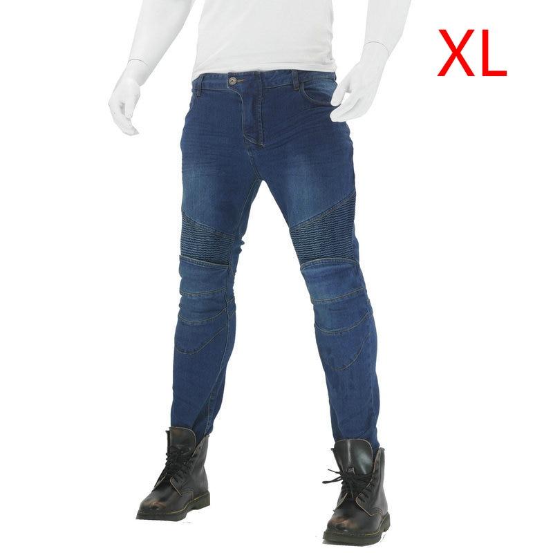 Motorcycle Pants+knee pads Jeans Denim Trousers Combat Skinny Women Fashion