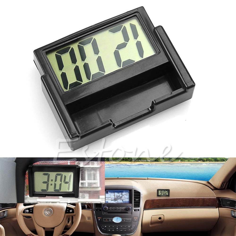 Car Auto Interior Dashboard Desk LCD Screen Digital Clock Self-Adhesive Bracket