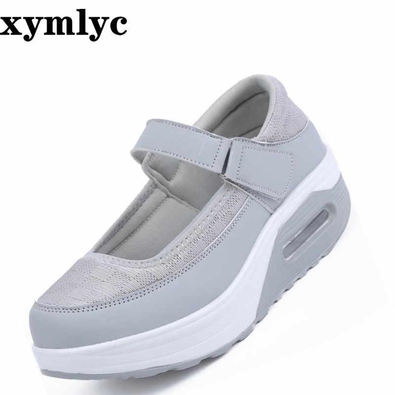 2020 ใหม่สีขาวรอบหัวหญิงรองเท้าผ้าใบรองเท้าตาข่ายรองเท้าผู้หญิงสบายๆตื้นปากหนาแบนรองเท้า