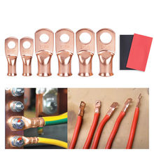 2Pcs=1lot Red copper Lugs Ring Battery Soldered Terminals M6/M8/M10 Bare Cable Electric Crimp Wire Connectors Kit