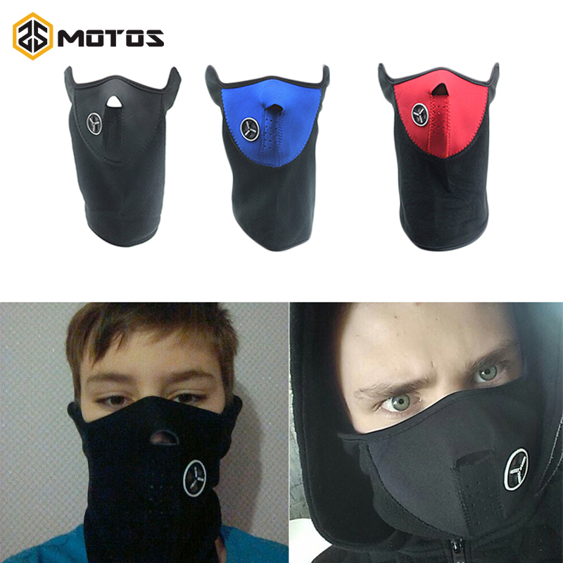 ZS MOTOS Motorcycle Half Face Mask Cover Fleece Unisex Ski Snow Moto Cycling Warm Winter Neck Guard Scarf Warm Protecting Mask