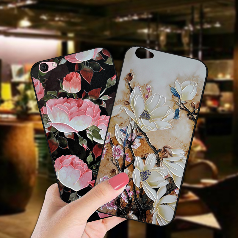 Retro Flower Soft Silicone Phone <font><b>Case</b></font> For BBK <font><b>Vivo</b></font> V5 Lite Y66 <font><b>3D</b></font> Relief Floral Back Cover For <font><b>Vivo</b></font> V5 / Y67 Y67L <font><b>Y69</b></font> Coque image