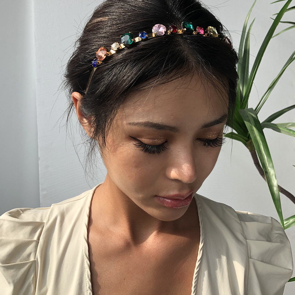 Trendy Headbands For Women Colorful Glass Stone Hairbands Bridal Shining Hair Hoop Party Wedding Hair Accessories F2296