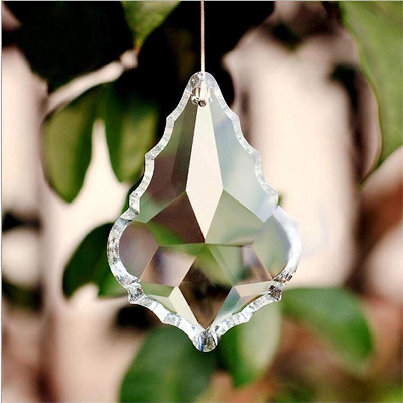Crystal Maple Leaf Prism Hanging Suncatcher Chandelier Light Pendant Glass Beads Home Wedding Party Decoration Figurine Crafts