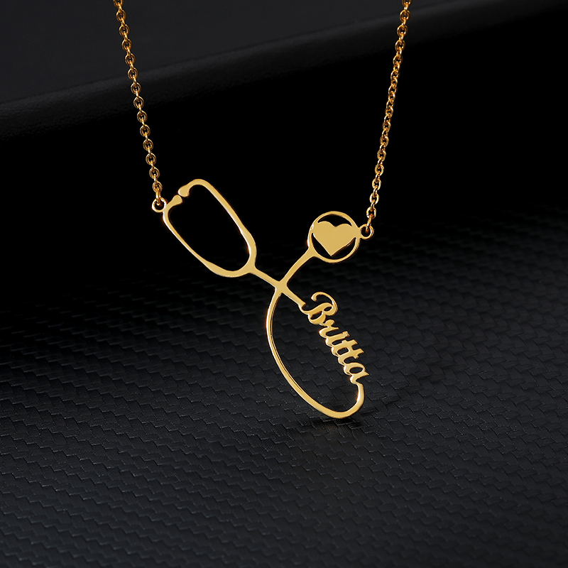 Custom Name Necklace Silver Gold Chain Stainless Steel Customized Stethoscope Necklaces For Women Personalized Gift For Her