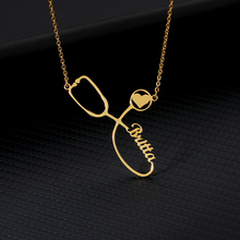 Custom Stethoscope Name Necklace Silver Gold Chain Stainless Steel Personalized Engraved Necklaces Women Boho Jewelry Mom Gift