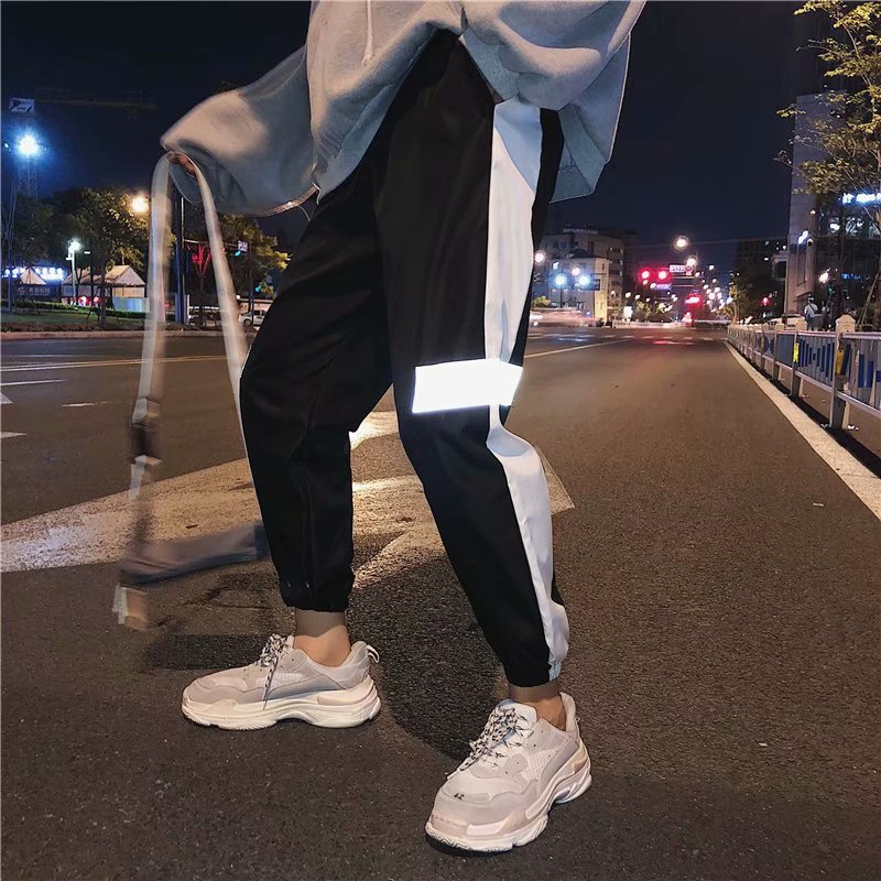 Spring And Autumn Super Fire Reflective Ankle Banded Pants Sub-Men Couples Hong Kong Style Trend Cool Slacks Hip Hop Casual Trou