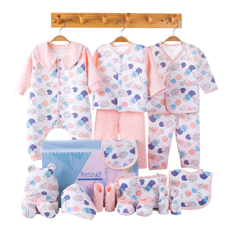 New Winter Baby Girl Clothes Newborn Gift Set Cartoon Print Infant Clothing Soft Cotton Baby Boy Outfit