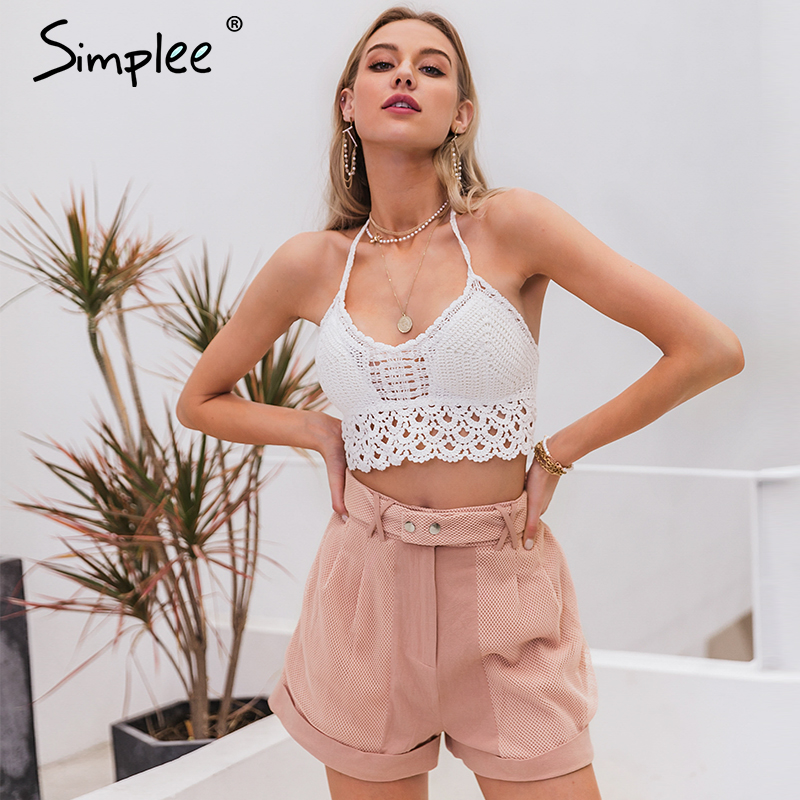 Simplee Vintage White Sexy Lace Tops Camis Shirt Women Summer Holiday Beach Club Camis Crop Tops Shirts Backless Casual Shirt
