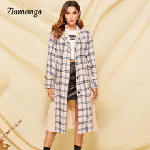 Ziamonga Turn Down Collar Women Trench Coat Vintage Sashes Plaid Autumn Winter Long Outwear Belt Pockets Office Ladies Overcoats cheap Slim Button Single Breasted Broadcloth Polyester spandex Full Women Trench ZC4569 Turn-down Collar Beige S M L XL Spring Autumn Summer Winter