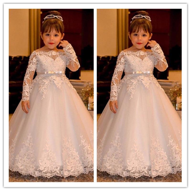 Elegant Lace Long Sleeve Boat Neck Vintage Princess Flower Girls Dresses For Weddings Girl Pageant Gowns Holy Communion Dresses