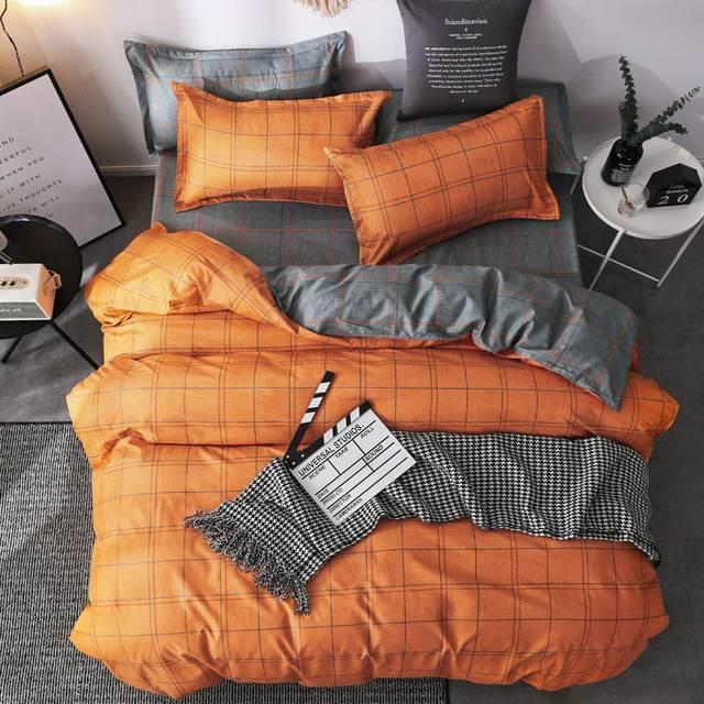 Simple Bedding Sets Orange and Grey 31