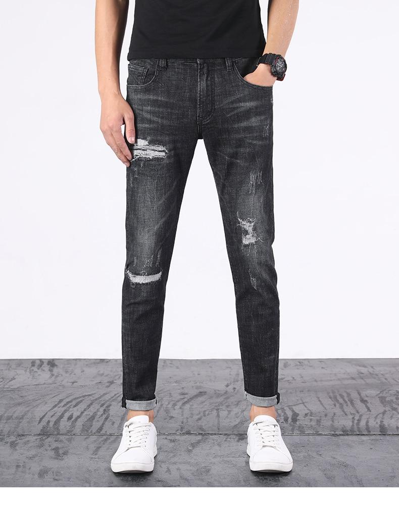 KSTUN Ripped Jeans Men Black Stretch Slim Fit Distressed Streetwear Hip Hop Casual Denim Pants Ankle Length Trousers 2020 Summer 11