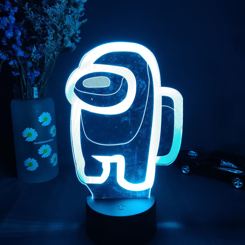 white Among Us 3D Crewmate Led Light Imposter Crewmate LED Lamp