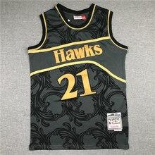Sports Jersey NBA Atlanta Hawks #21 Wilkins Men's Basketball Jerseys Retro Black Jersey