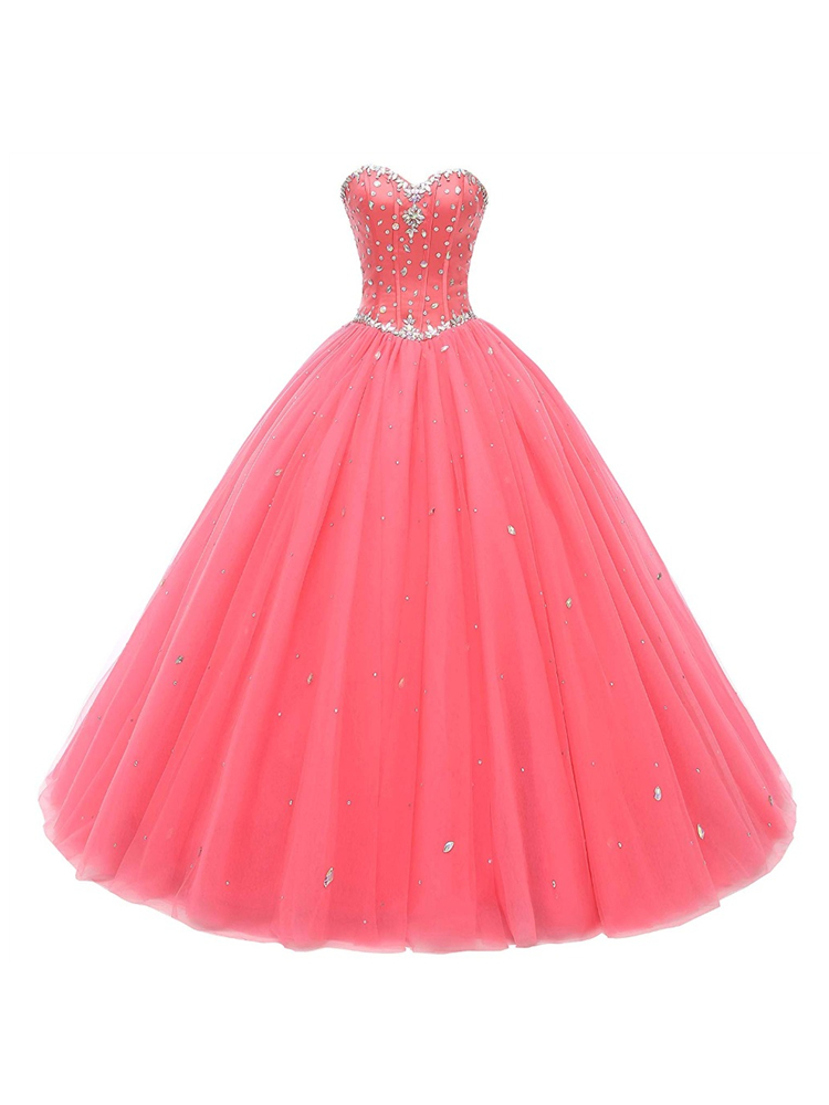 Ball-Gown Prom-Dresses Vestido-De-Quince Debutante Crystal Beads Robe-De-Soiree Real-Picture-Gorgeous