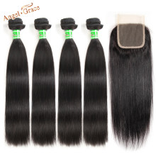 Peruvian Straight Hair 4 Bundles With Closure Remy Human Hair Bundles With Lace Closure Angel Grace Hair And Closure Free Ship(China)