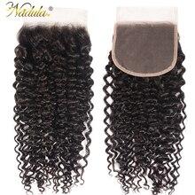 Nadula Hair 4*4ลูกไม้ปิดส่วนฟรี/กลางผมหยิกปิดลูกไม้บราซิลRemy Human Hairธรรมชาติสีดำ