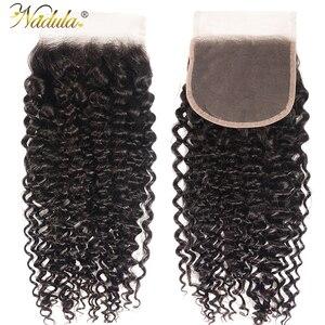Image 1 - Nadula cabelo 4*4 fechamento do laço parte livre/parte do meio culry cabelo fechamento do laço brasileiro remy fechamento do cabelo humano natural preto
