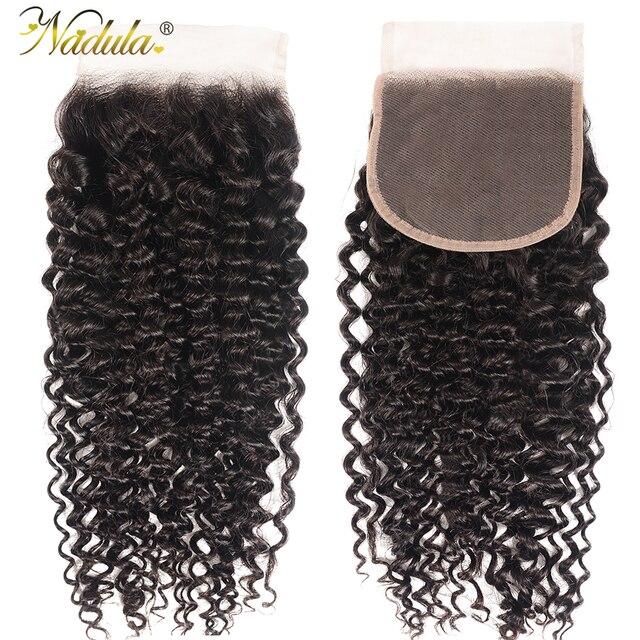 Nadula cabelo 4*4 fechamento do laço parte livre/parte do meio culry cabelo fechamento do laço brasileiro remy fechamento do cabelo humano natural preto
