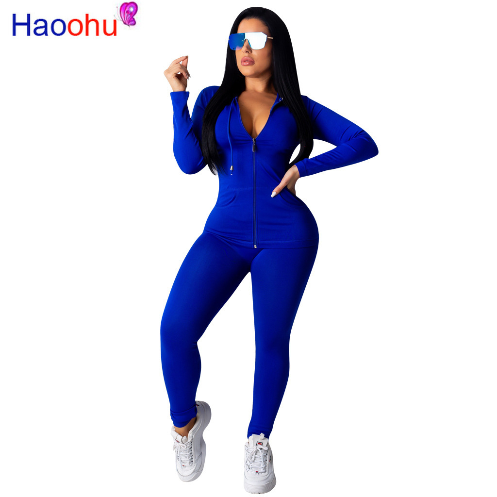 HAOOHU Two Piece Set Tracksuit Women Festival Clothing Fall Winter Top+Pant Sweat Suits Neon 2 Piece Outfits Matching Sets