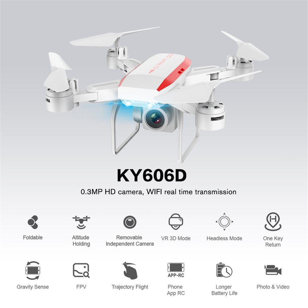 KY606D Drone with Camera HD 1080P 0 3MP 4K Four-axis Aircraft Long Time Flight Storage Bag Package Hover RC Helicopter