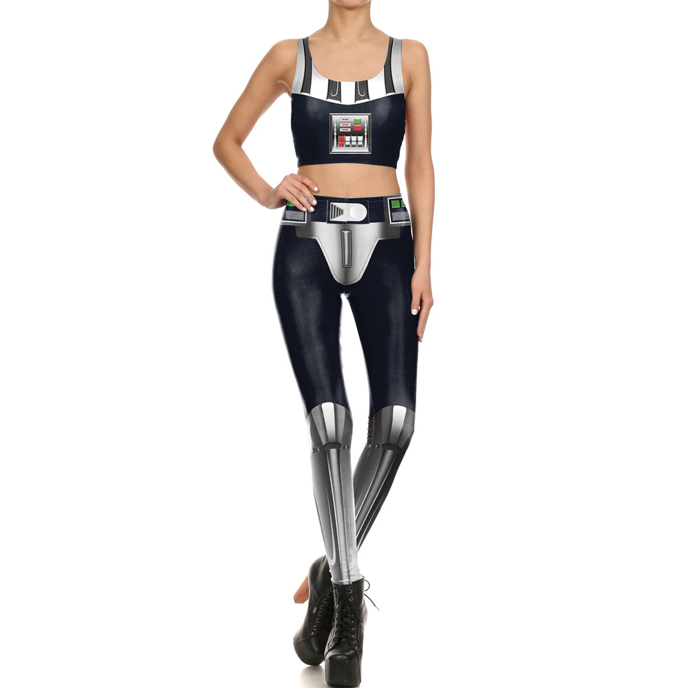 Amazon Hot Selling Fashion Digital Printing Set Elasticity Slim Fit Leggings Vest Two-Piece Set
