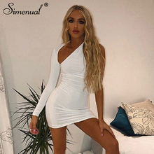 купить Simenual Sexy Hot Bodycon Women Party Dress One Shoulder Long Sleeve Mini Dresses 2019 Autumn Clubwear Fashion Cut Out Dress New дешево