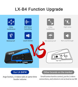 Image 2 - Lexin LX B4FM 4 רוכבים 1600M Bluetooth intercomunicador moto, אופנוע אינטרקום אוזניות עם FM רדיו BT קסדת אוזניות intercomunicadores דה casco moto