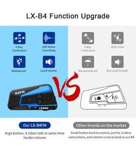 Image 2 - Lexin LX B4FM 4 Riders 1600M Bluetooth intercomunicador moto,Moto Intercom Cuffie con Radio FM BT Casco Auricolare intercomunicadores de casco moto