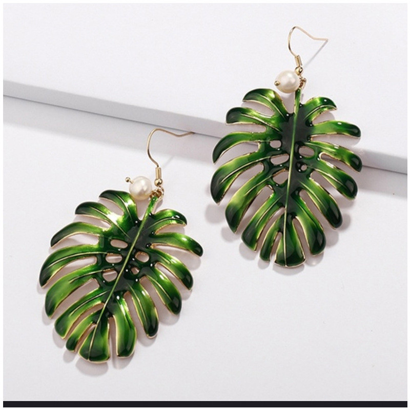 Boho Tropical Green Enamel Coconut Leaf Pearl Drop Earrings For Women Jewelry Statement Brincos Gold Dangle Earings Mujer Bijoux
