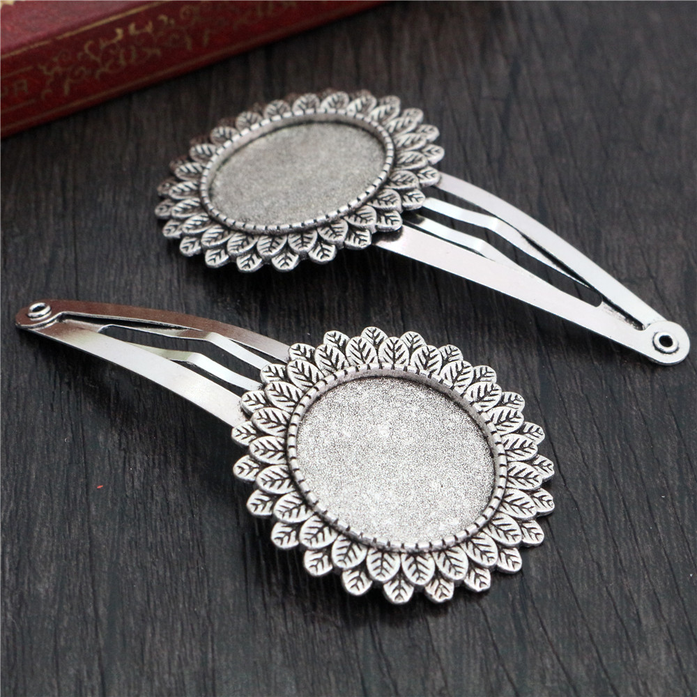 20mm 5pcs High Quality Antique Silver Plated Copper Material Hairpin Hair Clips Hairpin Base Setting Cabochon Cameo  J5-22