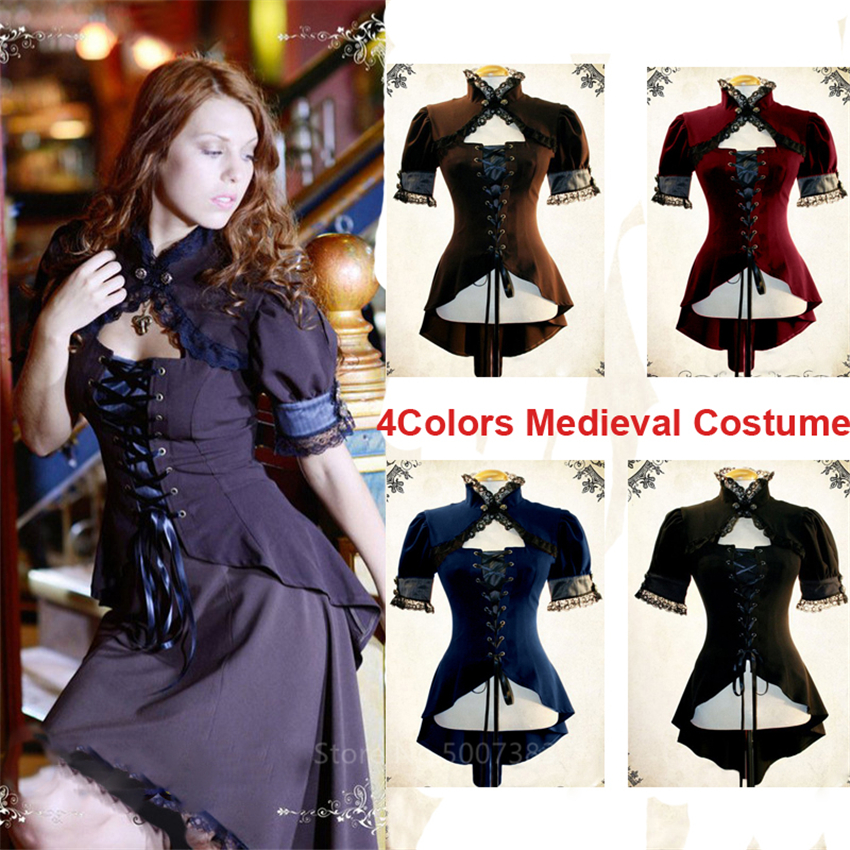 Victoria Bandage Sexy Tailcoat Medieval Costume Vintage Gothic Style Sexy Women Halloween Lace Palace Cosplay Carnival Party