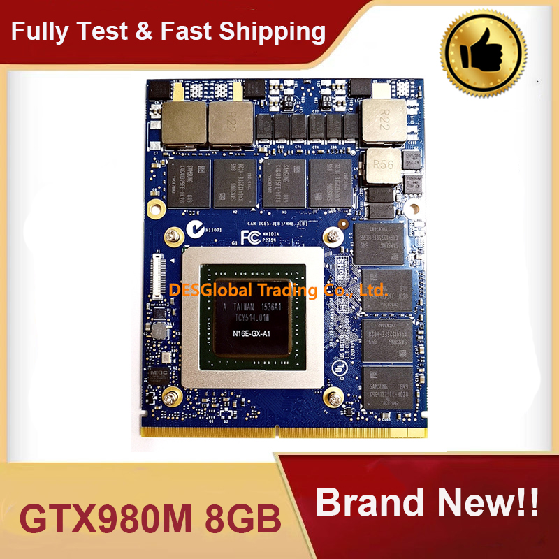 Brand New GTX 980M GTX980M 8GB N16E-GX-A1 Video Graphics VGA Card For HP MSI Dell Alienware Clevo Laptop GDDR5 Fully Tested