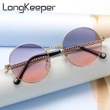 Retro Round Pink Sunglasses Women Brand Designer Luxury Alloy Frame Candy Color Sun Glasses Clear Lens Eyeglasses Oculos De Sol