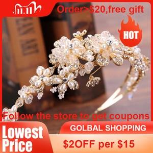 Image 1 - GETNOIVAS Vintage złota perełka Rhinestone liść tiara pałąk Hairband biżuteria do włosów ślubna głowa kawałek korona ślubna akcesoria SL