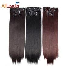 AliLeader 16 заколки для волос удлинения женские натуральные шиньоны 6 шт./компл. 16 цветов 22 дюйма синтетические волосы кусок