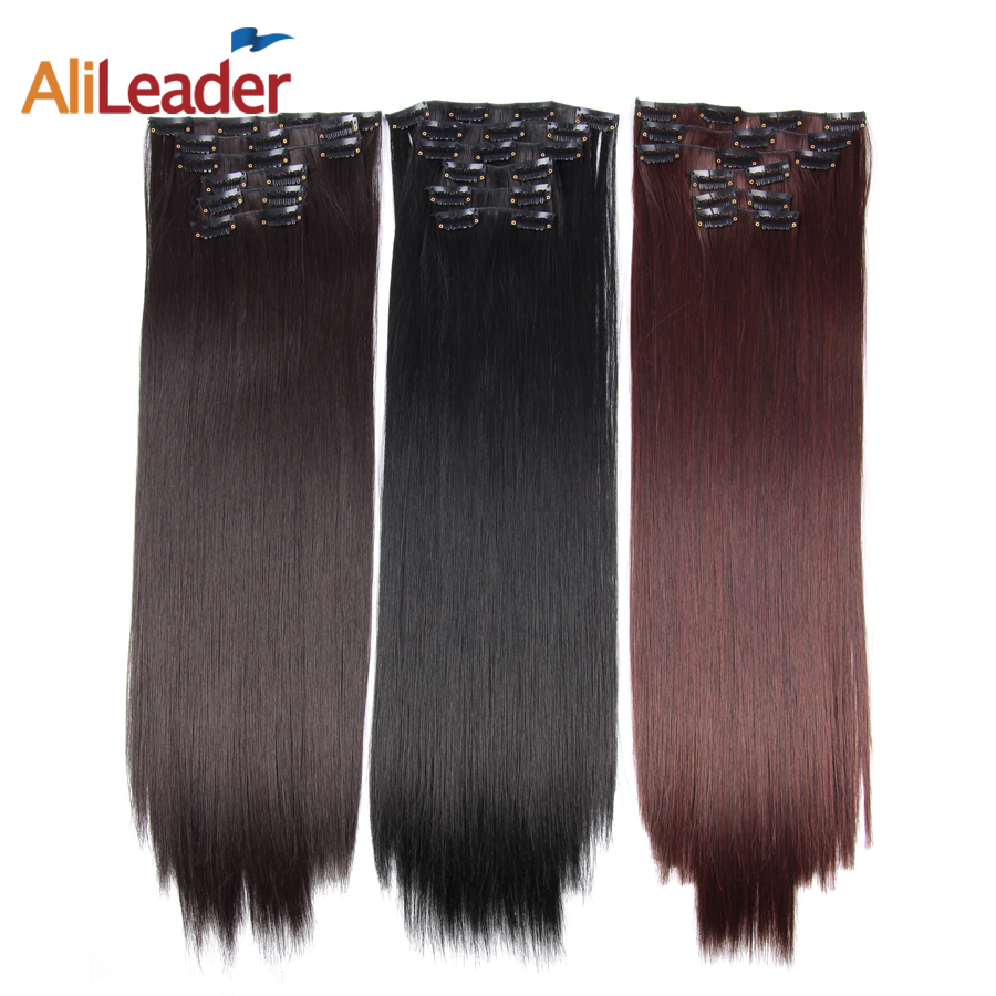 AliLeader 16 Clips In Hair Extensions Women Natural Hair Extensions 6 Pcs/Set 16 Colors 22 Inch Synthetic Hair Piece|Synthetic Clip-in Extensions| |  - title=