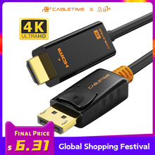 CABLETIME DisplayPort To HDMI Cable 4K/HD hdmi cable DP to HDMI 1080P/4K 60hz Converter DP 1.2 for HDTV Projector Laptop PC C072
