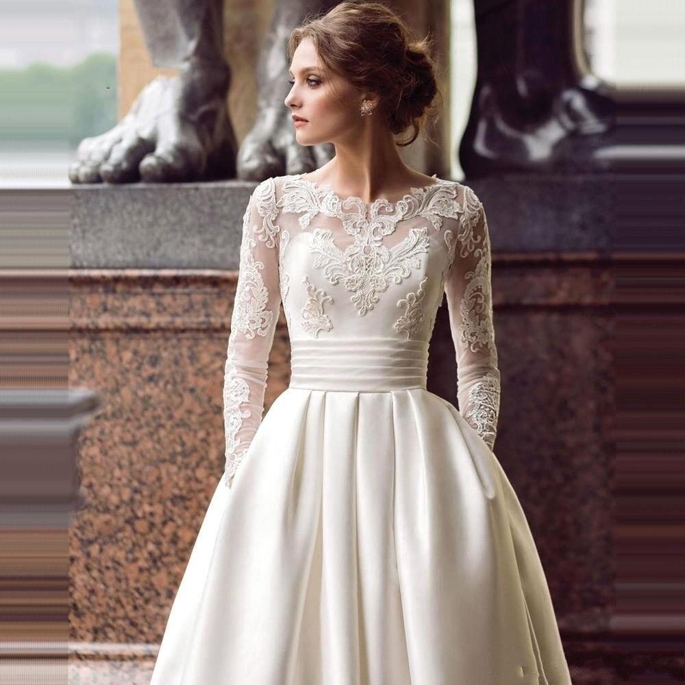 Elegant Lace Wedding Dress Illusion Long Sleeve Satin Wedding Gown Vintage A-Line Bridal Dress Vestido De Nnoiva