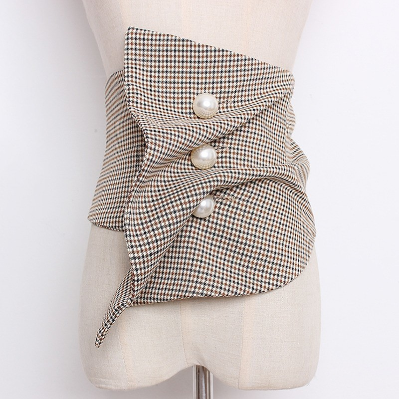 LANMREM 2020 Elastic Wide Girdle Pearl Button Folds Irregular Cummerbunds New Fashion All-match Female's Cloth Accessories YG413