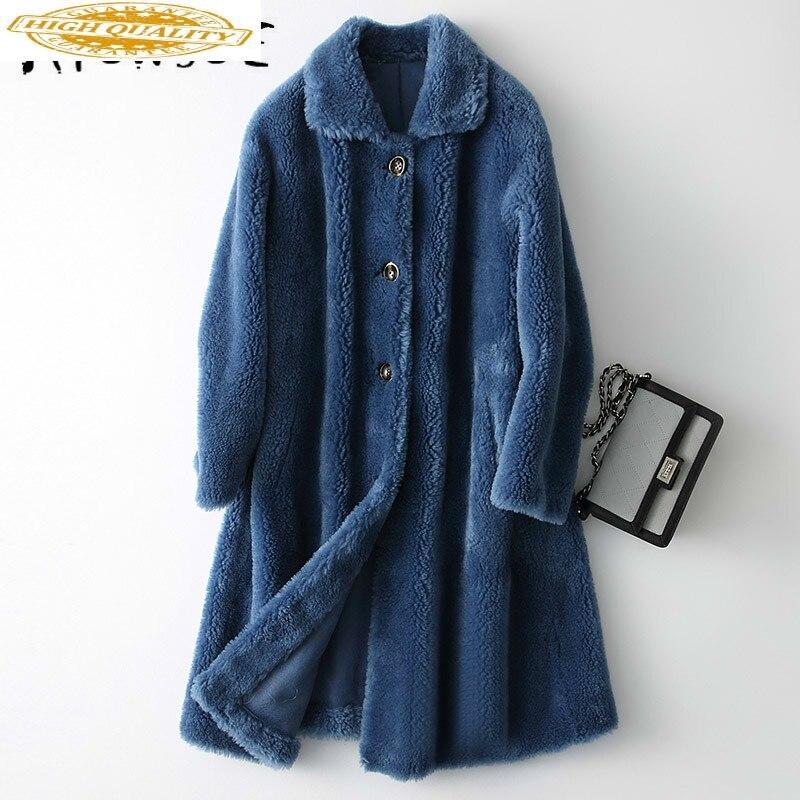 Real Fur Coat Women Sheep Shearling Winter Coat Women Clothes 2020 Korean Long Real Fur Jacket Abrigo Mujer KQN18214 YY1556