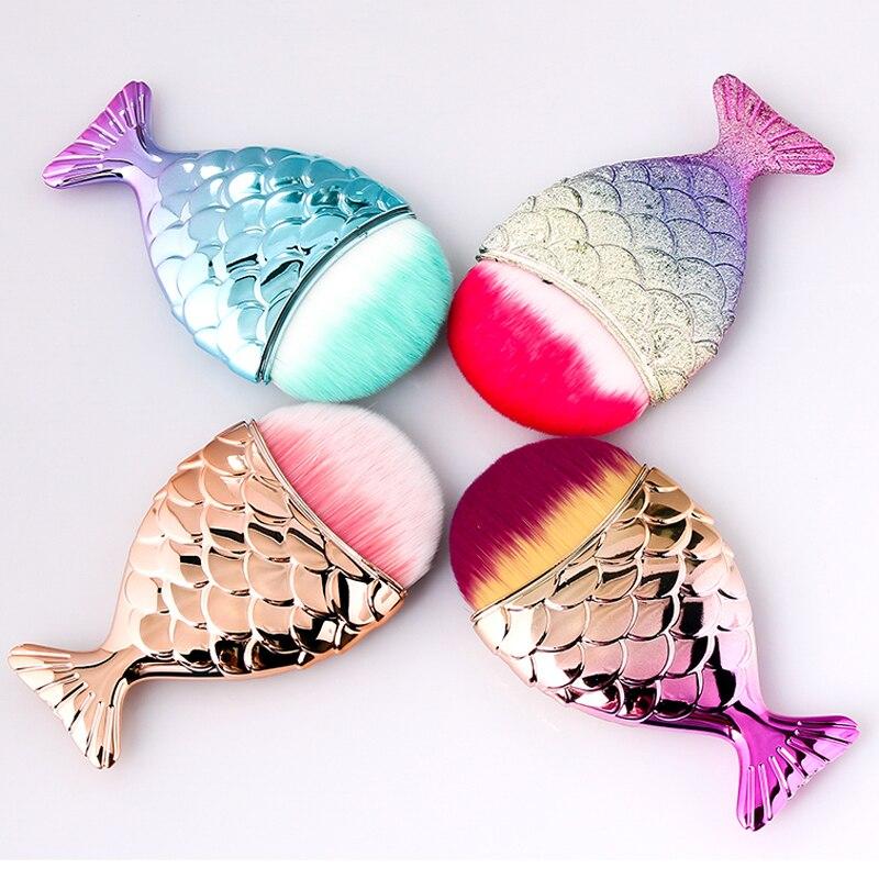 Brosse à ongles en forme de queue de poisson, 7 Types, brosses cosmétiques à fond de poisson, poudre de nettoyage douce pour le soin des ongles, outil de manucure