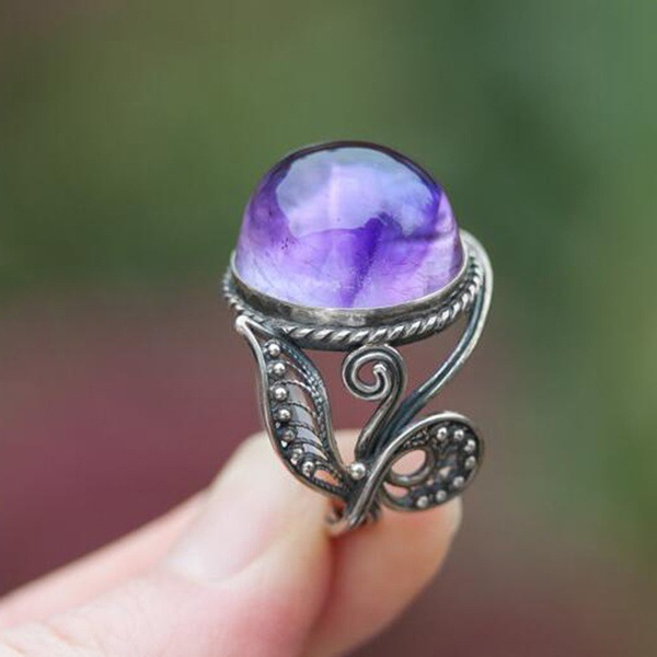Women Purple Crystal Ring Zircon Rings For Wedding Ring Fashion Vintage Opal Cabochon Gem Flower Leaf Jewelry Accessories Gifts