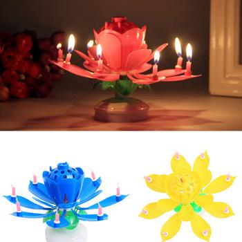 8 14 sztuk świeca lotosu kwiat lotosu obrotowy wszystkiego najlepszego z okazji urodzin muzyczna świeca Party DIY narzędzie do dekoracji ciast świece na prezent urodzinowy dla dzieci tanie i dobre opinie Other Flower Urodziny Świeca lampy Kolorowe płomień 32070