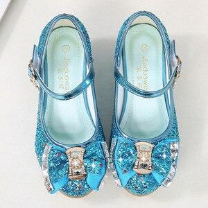 Image 3 - Çocuk prenses ayakkabı kızlar için sandalet yüksek topuk Glitter Rhinestone Enfants Fille kadın parti elbise ayakkabı çocuk ayakkabı kızlar