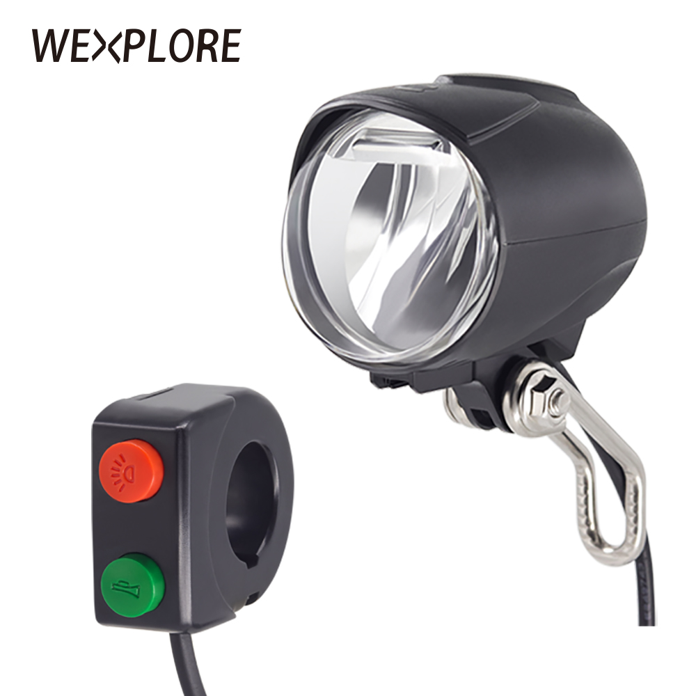 WEXPLORE Ebike Headlight Built-in Speaker Input 36V 48V 60V Bafang Led Light 50Lux E-bike Light And Electric Scooter Front Light