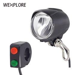 WEXPLORE ebike reflektor wbudowany głośnik wejście 36V 48V 60V bafang światła led 50Lux e-światło rowerowe i elektryczny skuter przednie światła