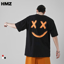 HMZ Cotton Tshirts Streetwear Men Hip Hop Smiley Print Rock Tees Harajuku Fashion Tshirts Casual Short Sleeve Loose Summer Tops